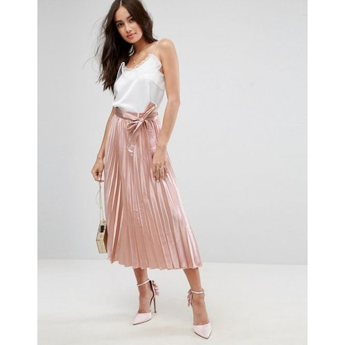21af61349 ASOS Satin Pleated Midi Skirt with Belt