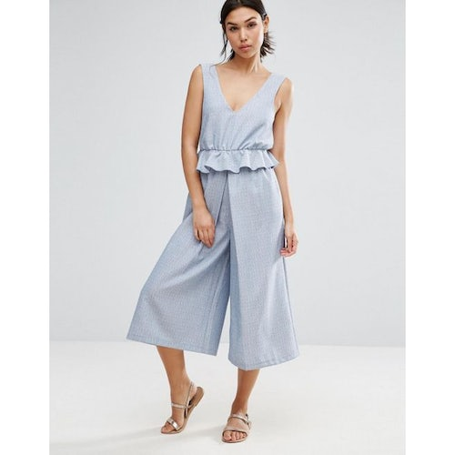 66692cb841e3 ASOS Jumpsuit with Peplum and Pleated Leg Detail