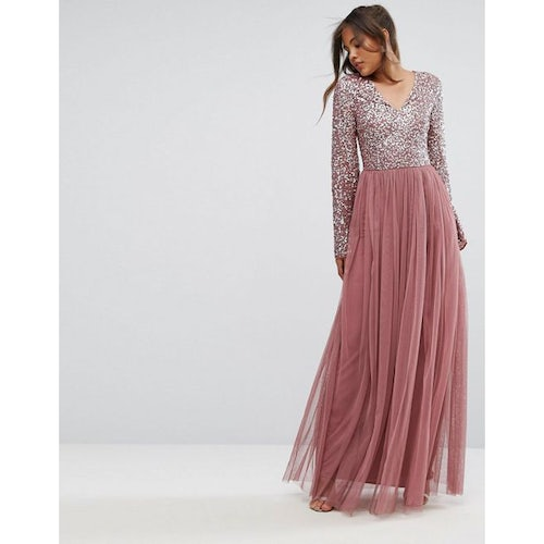 0341b90ffeda8 Maya Tall Sequin Top Tulle Maxi Dress With Fluted Sleeve Detail