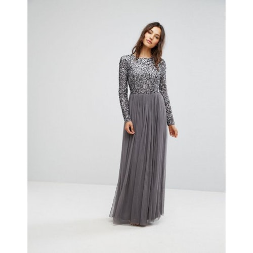 811aceb6bdfee Maya Long Sleeved Maxi Dress with Delicate Sequin and Tulle Skirt