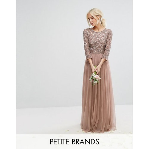 f31e153afcb4b Maya Petite 3/4 Sleeve Maxi Dress With Delicate Sequin And Tulle Skirt