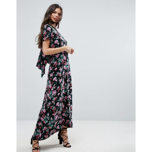 21b1126639d ASOS Maxi Dress with Open Back in Dark Floral Print