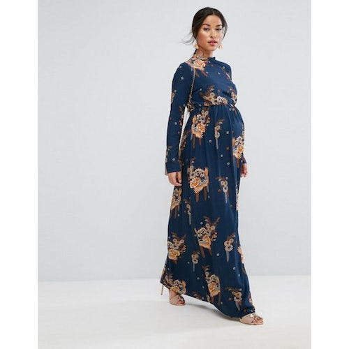 7b2778b08e86f ASOS Maternity Maxi Dress with Long Sleeve in Chinoiserie Print
