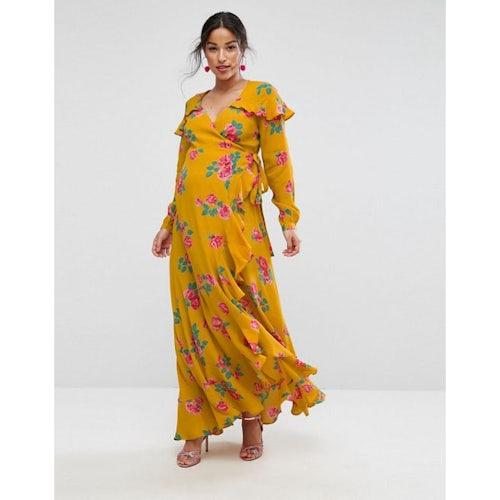 427e8051e045 ASOS Maternity Long Sleeve Wrap Maxi Tea Dress in Bold Floral
