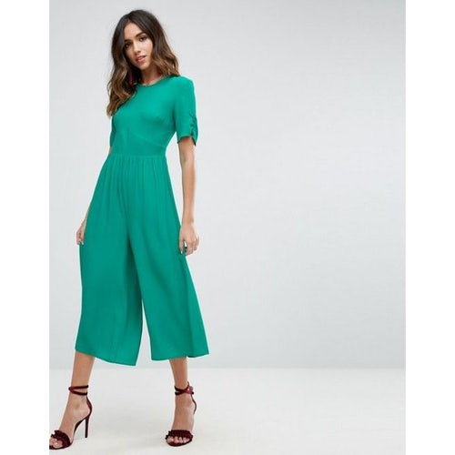 24534aa054f ASOS Tea Jumpsuit with Ruched Sleeve Detail