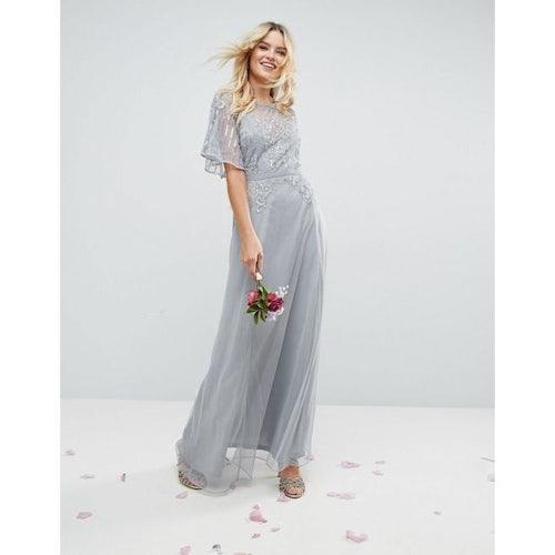 e693f4310d6 ASOS WEDDING Embellished Lace Insert Flutter Sleeve Maxi Dress