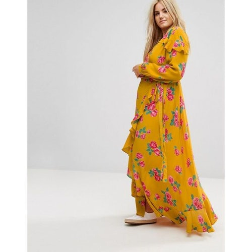 0becfd02d87d ASOS CURVE Long Sleeve Wrap Maxi Dress in Bold Floral