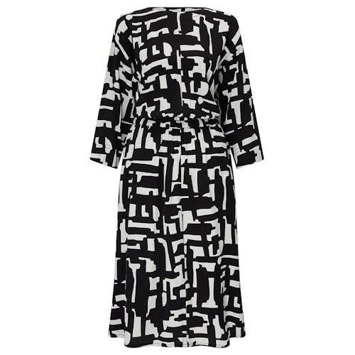 Kin by john lewis cut out printed dress black white amaliah