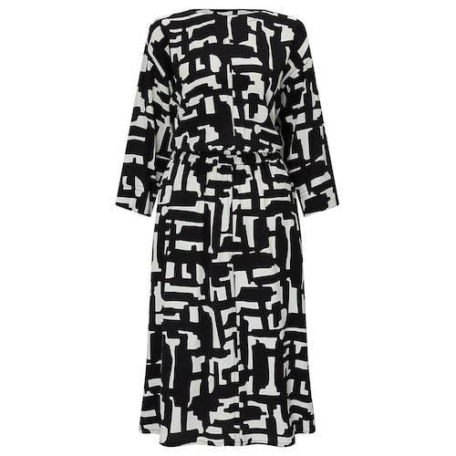 Kin by john lewis cut out printed dress black white amaliah