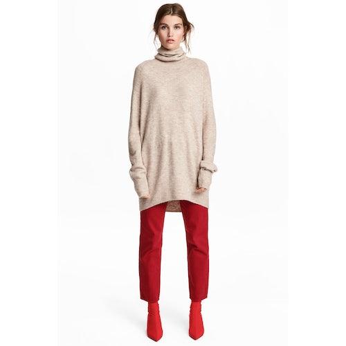 d1f79b945dd Knitted polo-neck jumper – Beige marl – Ladies