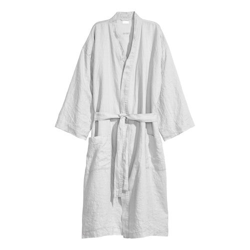 f77c290299 Washed linen dressing gown - Light grey - Home All