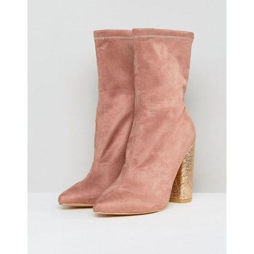 0254a7b2d5 Public Desire Universe Pink Crackled Heeled Ankle Boots
