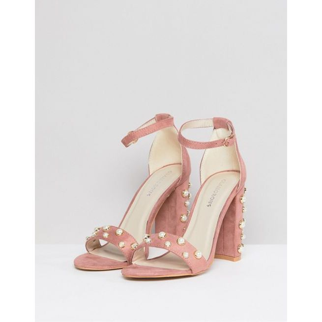 Clearance Supply Blush Block Heeled Sandals With Pearl Embellishment - Blush Glamorous Limited Cheap Outlet Store Classic Factory Sale t4Va14