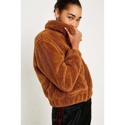 Uo Light Brown Teddy Cropped Jacket Urban Outfitters Amaliah