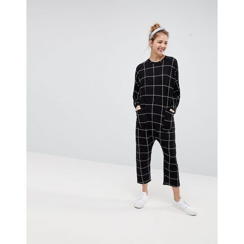 2548d4fa573 ASOS Minimal Jersey Jumpsuit with Batwing Sleeve in Check Print