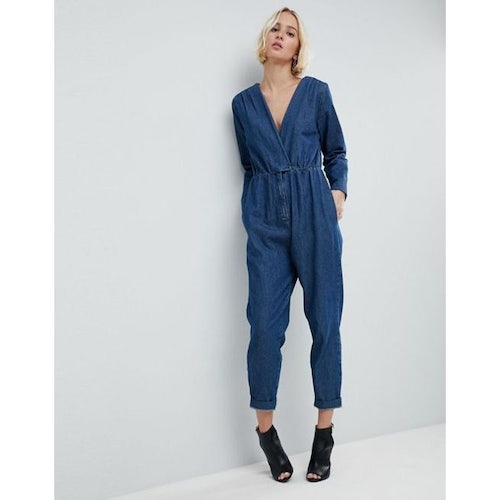 8be3102484 ASOS Denim Jumpsuit With Wrap Front in Darkwash