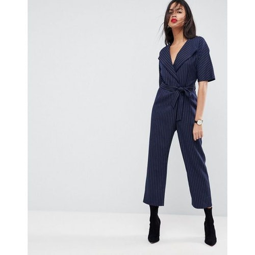 972a89b6f5 ASOS Wrap Jumpsuit with Self Belt in Pinstripe