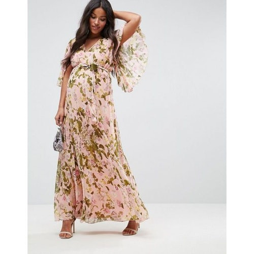 caa789b8f79 ASOS Maternity Floral Pleated Flutter Sleeve Maxi Dress
