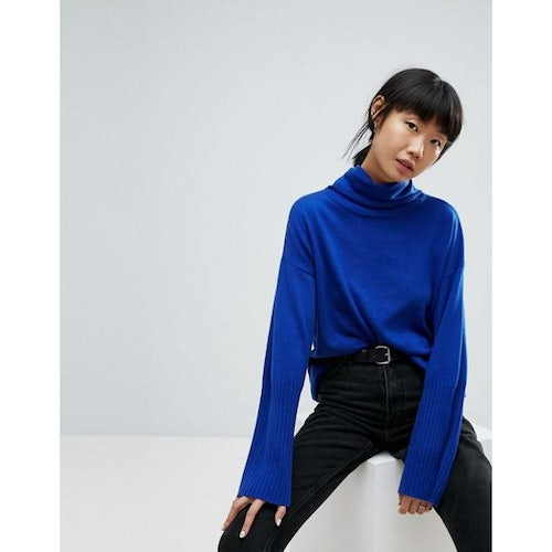 8005a7a0f01 ASOS Oversized Jumper with Wide Sleeves and Roll Neck
