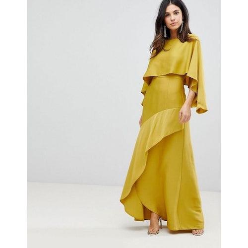 86e53504f83 ASOS Long Sleeve Crop Top Satin Maxi Dress with Kimono Split Skirt - Amaliah