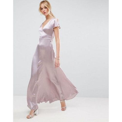 4f7acdea3f8 ASOS PREMIUM Wrap Satin Maxi Dress - Amaliah