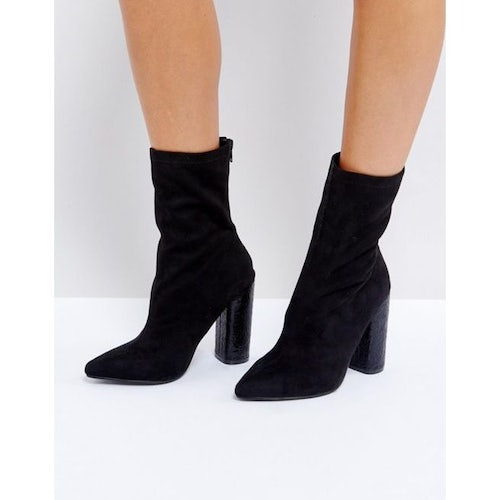 6df098e9a8 Public Desire Universe Black Crackled Heeled Ankle Boots