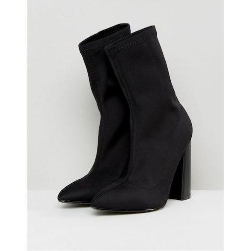 f8e5b22dd Public Desire Libby Black High Heeled Sock Boots - Amaliah