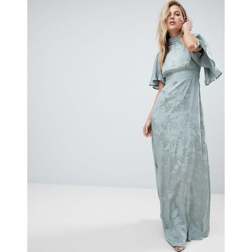 4884ba7a9247 ASOS Maxi Dress with Floaty Sleeve in Soft Floral Jacquard - Amaliah