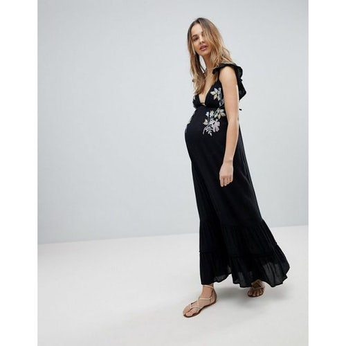 183781efd51 ASOS Maternity Floral Cross Stitch Embroidered Maxi Beach Dress with pompom  trim