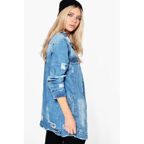 7ca88d5348e Libby Longline Distressed Denim Jacket | Boohoo - Amaliah